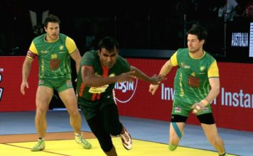 players in action during a 2016 kabaddi world cup