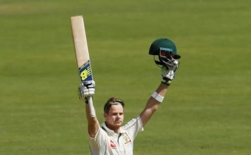 Skipper Steve Smith top-scored for the tourists with an unbeaten 178