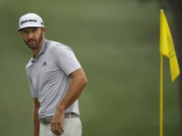 Dustin Johnson of the U.S. practices
